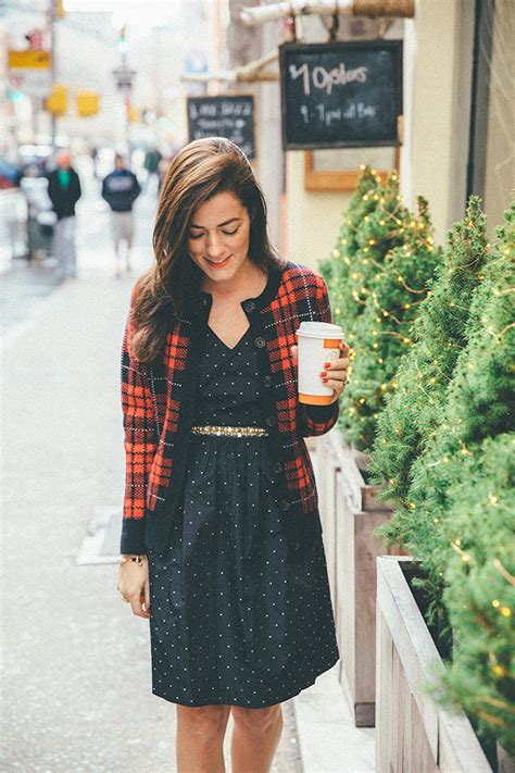 Dress Cardigan Polkadot polka dot dress and plaid cardigan with a touch of gold wear pearls fashion
