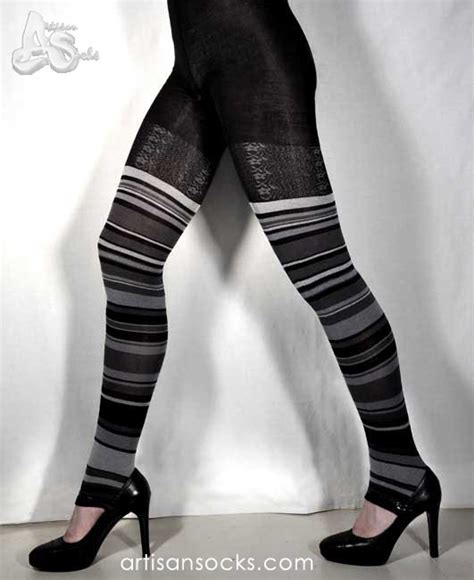 black and grey patterned leggings ozone stripe lace leggings black gray striped footless