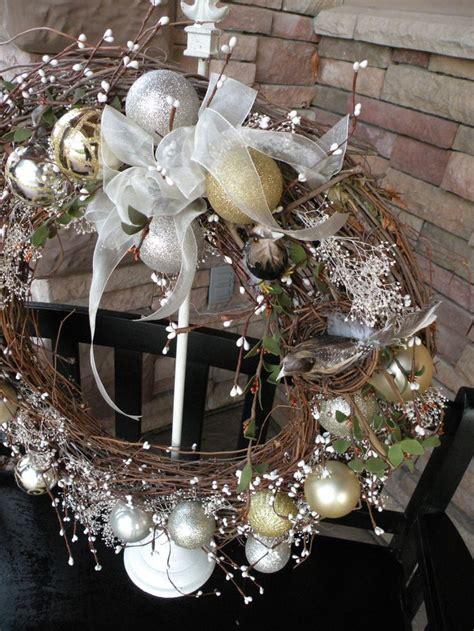 doves nest christmas ribbon seasons of materials bird nest birds transparent white ribbon large grapevine wreath
