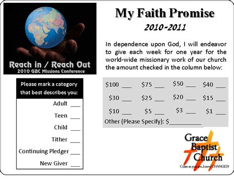 Faith Promise Card Template by Missions Conference 2008