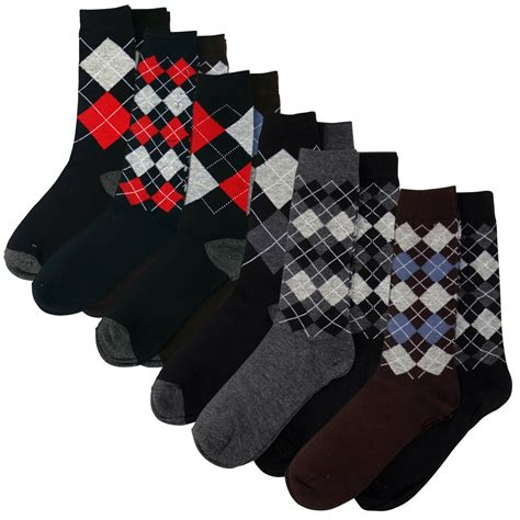Diamond Pattern On Socks And Sweaters | 6 x pairs mens argyle suit dress socks small big check