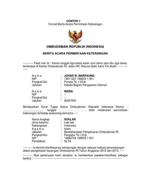 Format Berita Acara Musyawarah | format berita acara permintaan keterangan