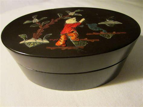 Box Aki Japs Oval mahogany oval box japanese figure applied inlaid