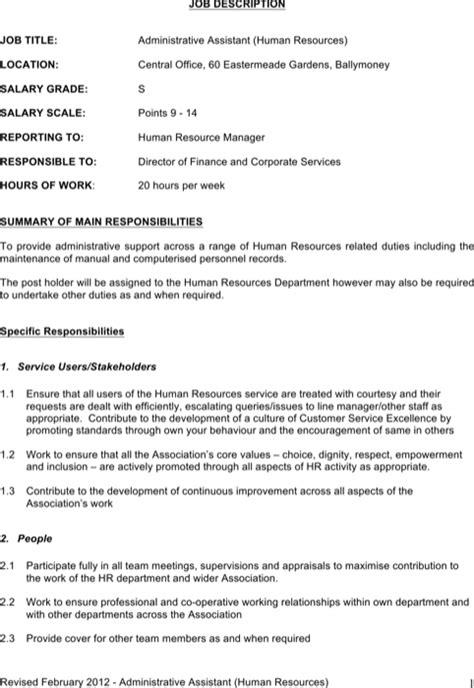 Download Word Job Description Templates For Free Formtemplate Admin Assistant Description Template