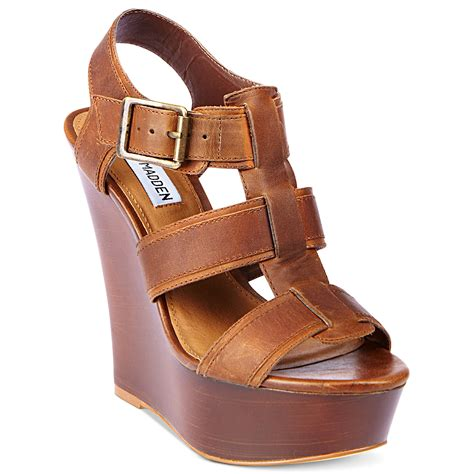 Steve Madden Wedge Sandals by Steve Madden Wanting Platform Wedge Sandals In Brown Lyst