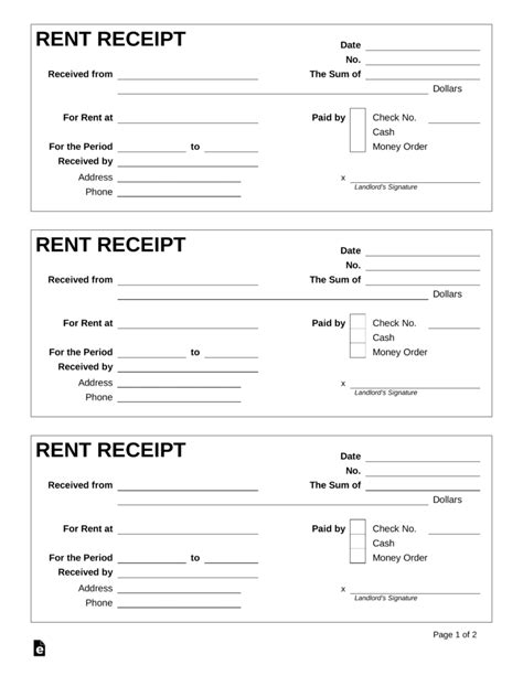 rent receipt template  word eforms  fillable forms