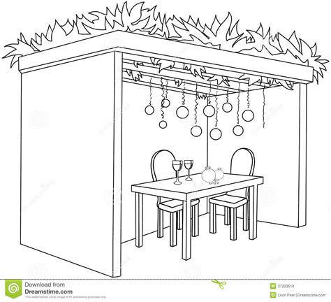 Sukkah For Sukkot With Table Coloring Page Royalty Free Sukkah Coloring Pages