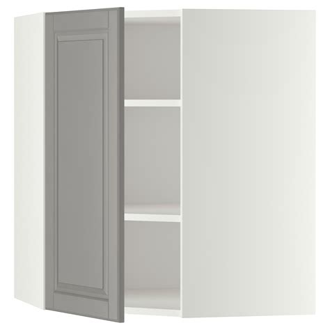White Armoire With Shelves Metod Corner Wall Cabinet With Shelves White Bodbyn Grey