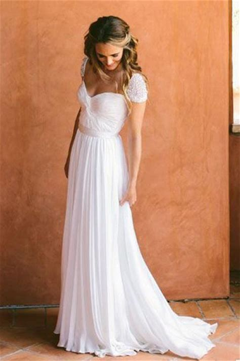 cap sleeves  chiffon bohemia wedding dresses