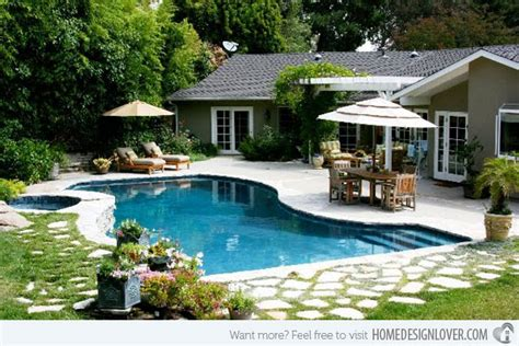 Backyard Pool Patio Tropical Backyards With A Pool Home Designer
