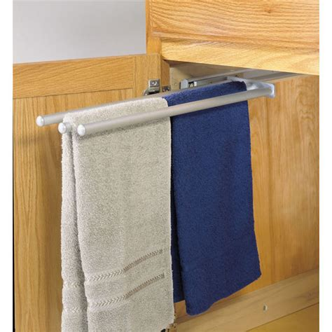 kitchen cabinet towel rack hafele pull out towel racks for kitchen or vanity cabinet