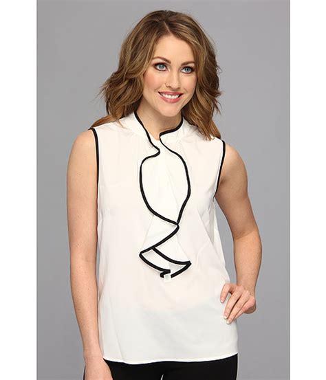 Calvin Klein Sleeveless Ruffle Blouse calvin klein sleeveless ruffle front blouse 6pm