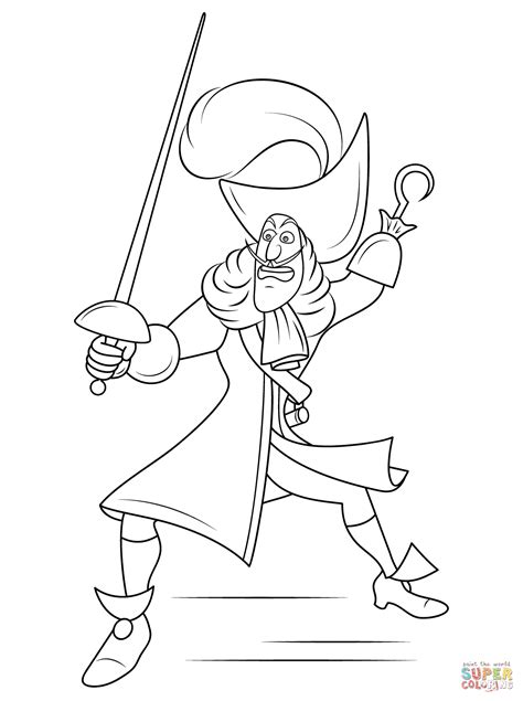 Disney Captain Hook Coloring Page Free Printable Captain Hook Coloring Pages