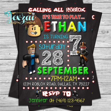roblox card template roblox birthday invitation roblox chalkboard invitation