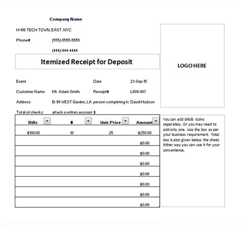itemized receipt template excel itemized receipt template 6 free word excel pdf