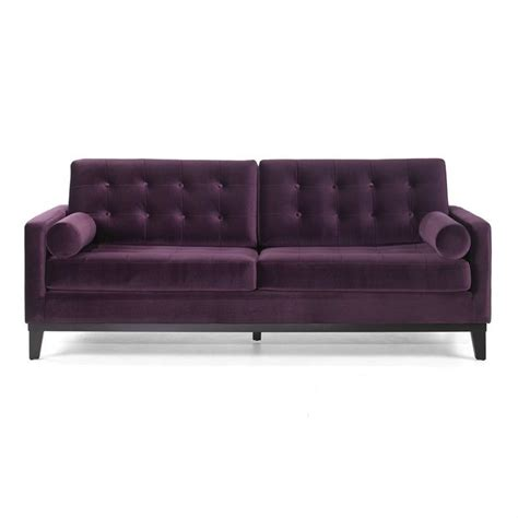 armen living centennial velvet sofa in purple lc7253pu