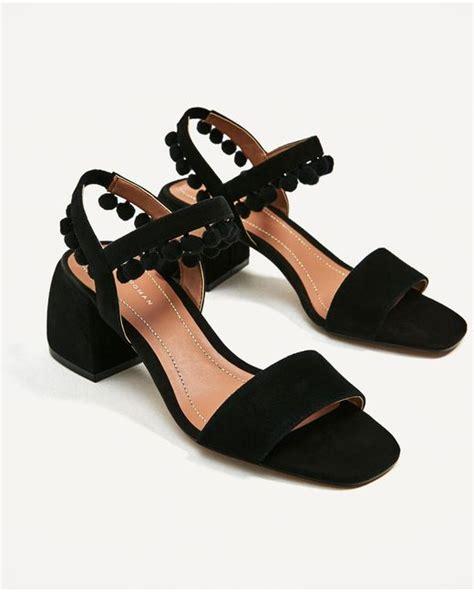 Sepatu Sevivalen 520 High Heels 6cm zara leather mid heel pompom sandals in black lyst