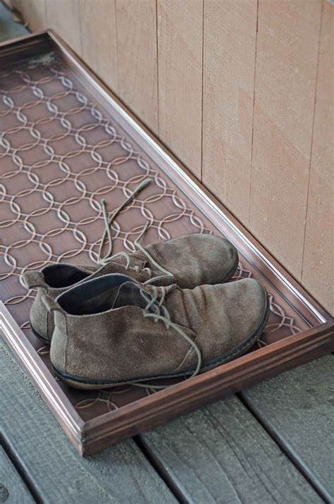 metal boot tray embossed circles copper finished boot tray 34 x 14 x 2 5