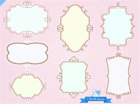 free doodle labels doodle tags frames labels borders clip