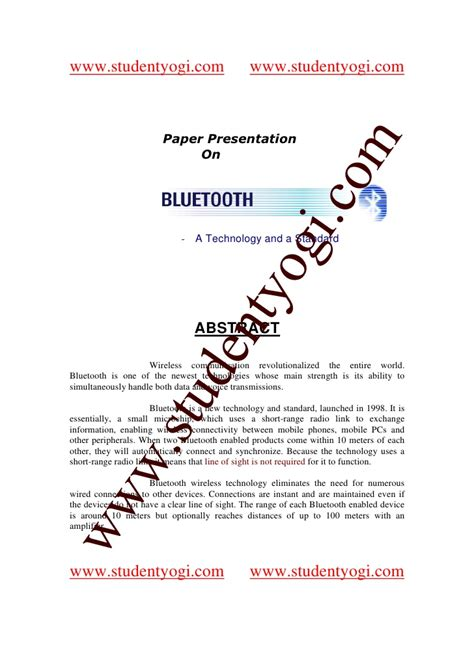 How To Make Paper Presentation Abstract - bluetooth abstract paper presentation