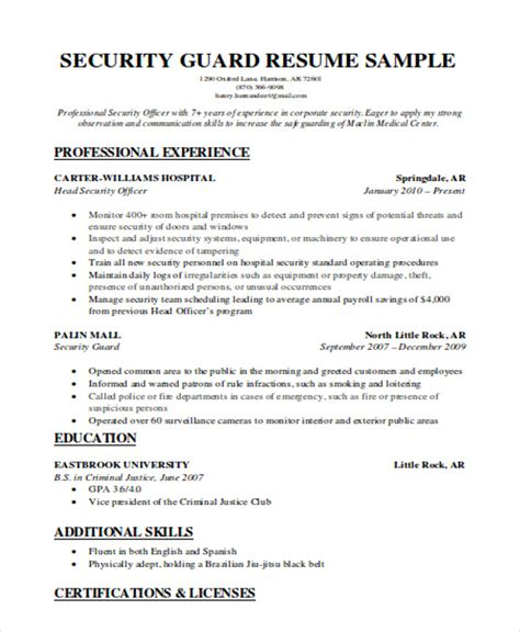 security resume exles and sles security resume security guard resume sle within