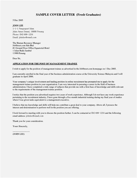 Resume Cover Letter Graduate application letter for for fresh graduate