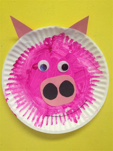 Pig Paper Plate Craft - paper plate pig craft birthday pink pig