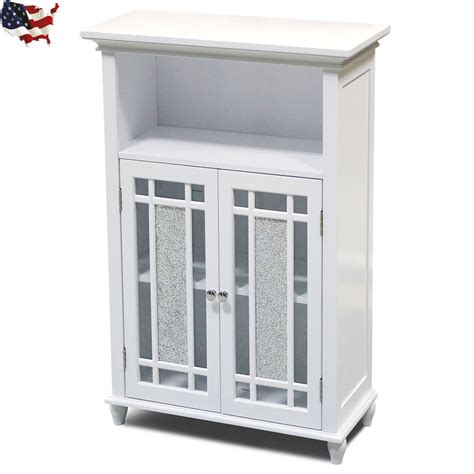 Bathroom Storage Cabinets Floor Floor Cabinet Storage Bathroom Kitchen Glass Doors Home Furniture White Ebay