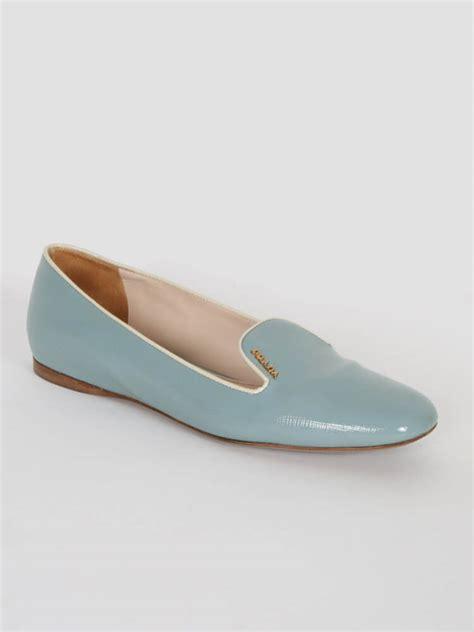 white prada loafers prada blue patent saffiano white trim loafers 38