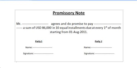Sle Of Promissory Note Format In Ms Word Wordxerox Promise To Pay Note Template