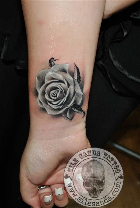 rose tattoo on arm black and white arm realistic rose tattoo by sile sanda