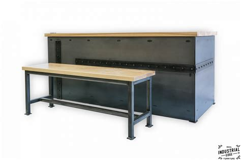 Metal Reception Desk Ash Steel Desk With Client Bench Real Industrial Edge Furniture Custom Industrial