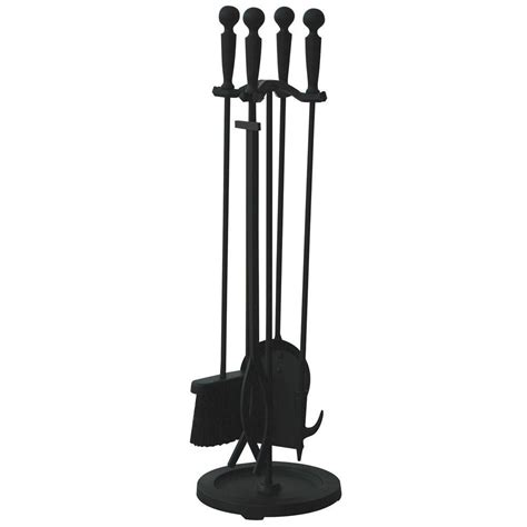 Uniflame Fireplace Tools by Uniflame Brushed Black 5 Fireplace Tool Set With Rods F 1583b The Home Depot