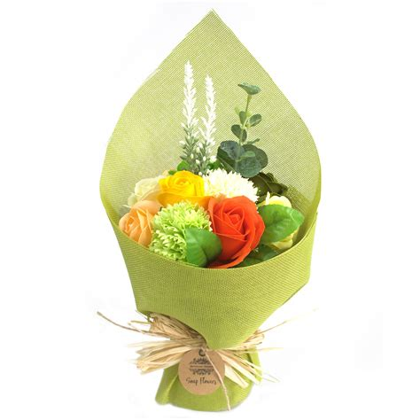 Bath Flower Green standing soap flower bouquet green yellow