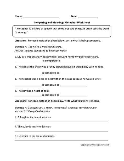 Simile And Metaphor Worksheet For Middle School by Englishlinx Metaphors Worksheets