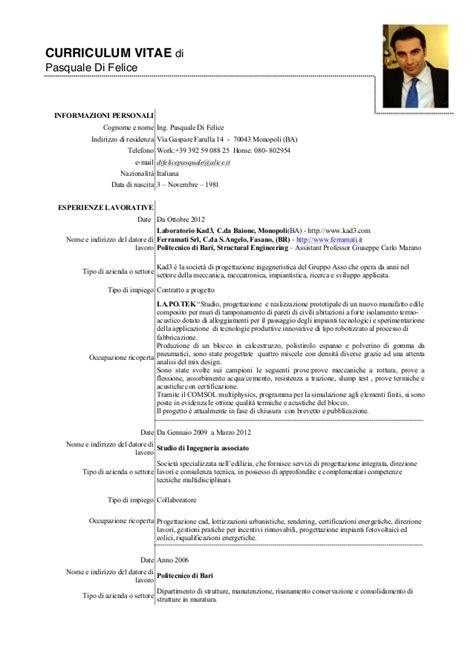 Modelo Curriculum Vitae Europeo En Italiano Curriculum Vitae Pasquale