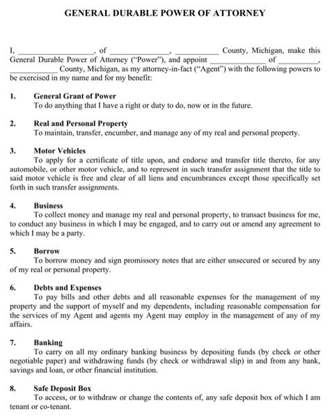 Download Michigan General Durable Power Of Attorney Form For Free Page 2 Formtemplate Power Of Attorney Template Michigan