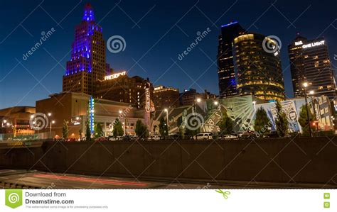 Kansas City Power And Light Restaurants by Nighttime View Of The Power And Light District In Kansas