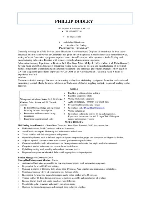 Electrician Resume by Auto Electrician Resume
