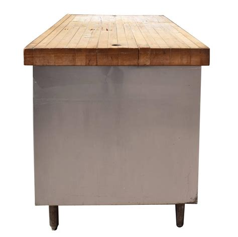 used butcher block table for sale industrial table with butcher block top for sale at 1stdibs