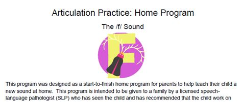 Home Program by F Articulation Homework Complete Home Program