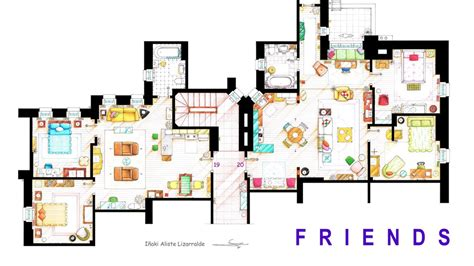 layout of monica s apartment floor plans of your favorite tv apartments nerdist
