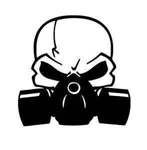 Sticker Drucken Ko by Skull With Respirator Gas Mask Biohazard Vinyl