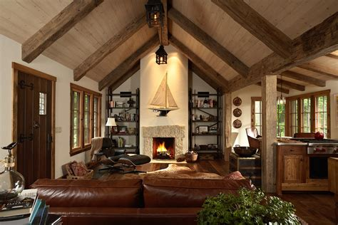 Cathedral Ceilings In Living Room Timber Ceiling Design Living Room Rustic With Leather Cathedral Ceiling Cabin Fever