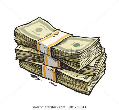 stack money dollar bills hand drawn stock vector 381758644