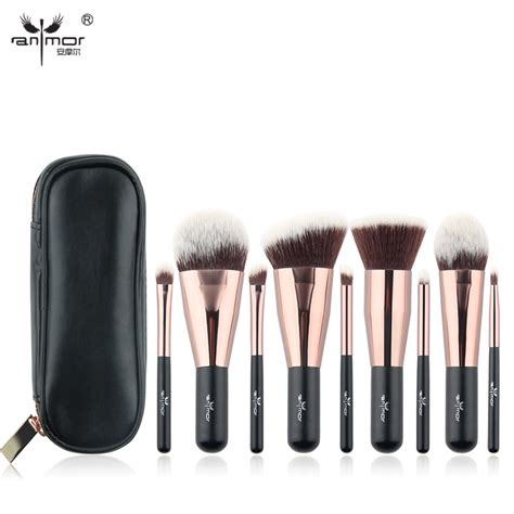 anmor lovely travel 9 pcs makeup brush set synthetic mini