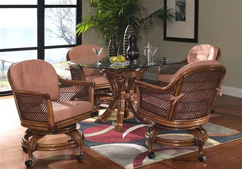 lake house rattan  piece caster dining set  classic