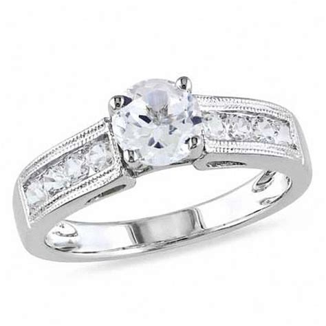 6 0mm lab created white sapphire engagement ring in