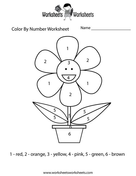 easy color by number worksheet free printable