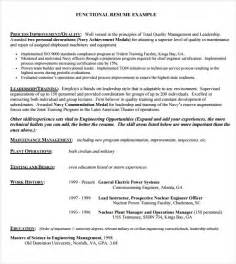 Exle Of A Functional Resume by Sle Functional Resume 5 Documents In Pdf